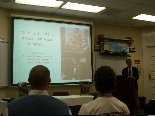 Nikhil Bilwakesh gives a lecture on W.D. Fard and the Afrocentric Asian in America